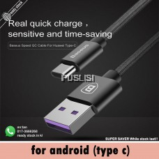 Baseus ( 5A supercharge huawei ) Original Speed Type C Cable Type-C Data Syncing Cable USB Port Quick Charger 1m for Huawei P10 P20 P30 Plus Mate 20 10 9 Pro