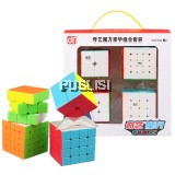 QIYI Original Bundle 2x2x2 3x3x3 4x4x4 5x5x5 Rubik's Rubik Magic Speed Cube Puzzle 4PCS Set Gift Pack Kid Toys Stickers