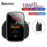 Baseus Original Digital Display PD3 QC3 18W Quick Charge 3.0 USB Charger Adapter For Iphone Samsung Xiaomi Vivo Oppo