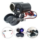 Waterproof 12V-24V Motorcycle Dual USB Charger Lighter Handlebar Mount
