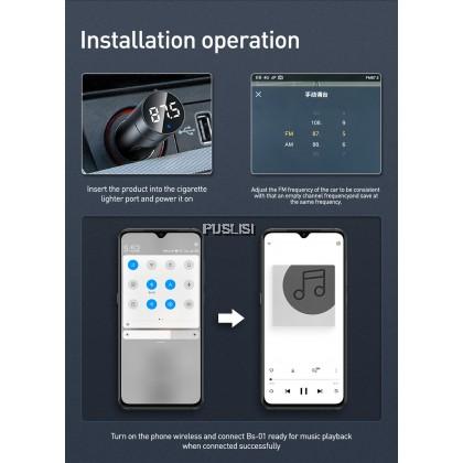 Baseus Original FM Transmitter Car Charger MP3 Player Bluetooth Car Kit  Handsfree Call