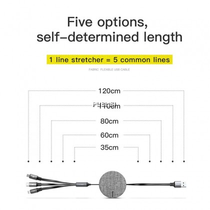 Baseus Original 3 in 1 Retractable USB Cable for iPhone Micro USB Type C 1.2m 3.5A