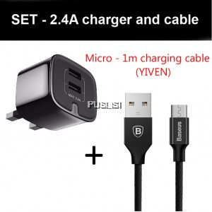 BASEUS Samsung XIAOMI ASUS Dual USB 2.4A HOME Travel Adapter Charger