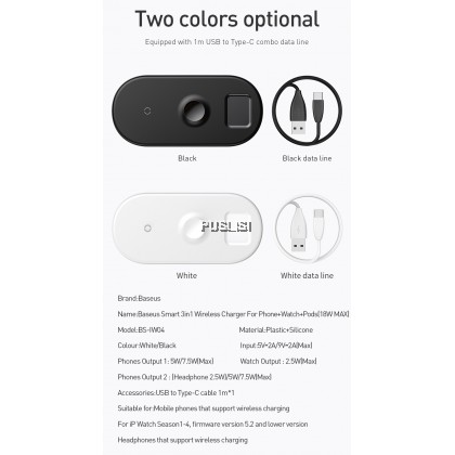 Baseus Wireless Charger For iPhone X XS MAX XR 8 Fast Full load 3 in 1 Charging Pad for Airpods Apple Watch 4 3 2