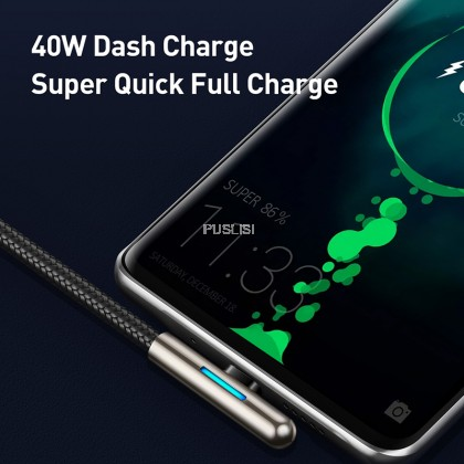 Baseus 40W USB Type C Cable QC3 Fast Charging Elbow LED USB Cable For Huawei Xiaomi Vivo