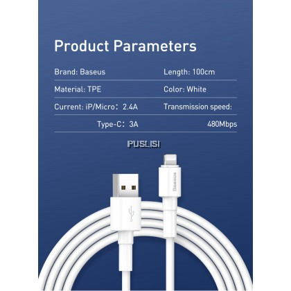 Baseus Original Mini 2.4A Cable Lightning USB Data Sync Cable Fast Charge For Iphone