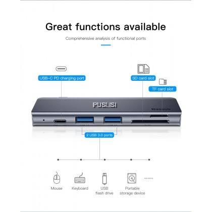 Baseus Original 5 in 1 USB C HUB Type-c to Multi Ports uSB 3.0 Type C PowerAdapter Charging and data Transfer Port SD TF Card For Macbook ProAir Huawei Xiaomi Samsung Notebook Accessories