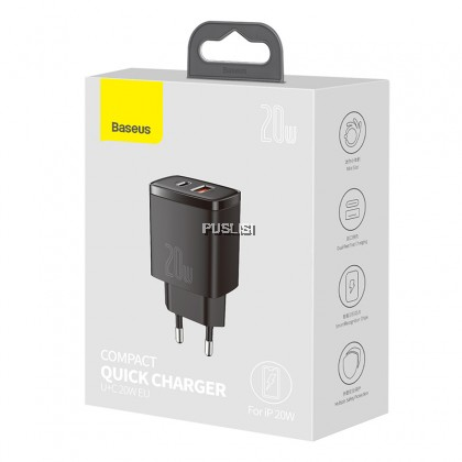 Baseus Original Dual USB Port 20W Charger Support Type C PD Fast Charging