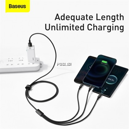 Baseus Original 3 in 1 USB Type C Cable for iPhone 12 Pro Mini Max Fast Charging Cable or Samsung S20 Xiaomi Micro USB C Cable