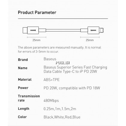 Baseus Original Superior Series Fast Charging Data Cable Type-C to iP PD 20W For Iphone