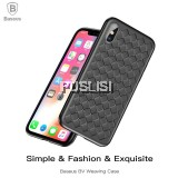 Baseus Luxury Grid Weaving Back Cover Ultra Thin Soft Protective Phone Case For iPhone X