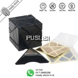 New Ghost Cube Black 3x3 Rubik cube Magic cube Puzzle Twist Stickers Come with Bonus 2 Sets of Stickers (Golden and Silver)