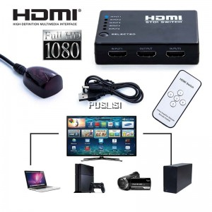HDMI Switcher Splitter Hub Remote Control 5IN1 OUT with remote control