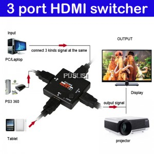 3 Port HD Switch Switcher Splitter for PS3 PS4 Xbox 360 Game
