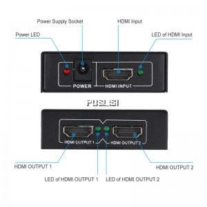 Mini 3D 4K*2K HDMI Splitter 1X2 2 Port Hub Repeater Distributor Full HD 1080P