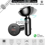Baseus Car Charger Car Adapter 4.8A Dual USB Digital Display 360 Rotation Shake-head for Mobile Phone iPhone Xiaomi Huawei