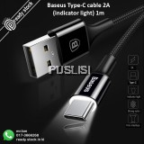 Baseus 2A LED Light USB Type C Fast Charging Cable For Xiaomi Huawei Mate9 P9