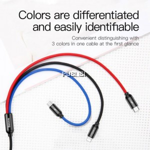 Baseus 3 in 1 Iphone Micro USB Type C 3.5A charging cable For Lightning iOS Type C Micro USB