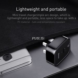 Baseus Adapter PD2.0 Charger 30W Dual USB Port for iphone X ip 8 Apple Macbook iOS