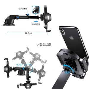 360 Rotation Car Windshield Dashboard Telescopic Mount Holder Bracket For Cell Phone GPS