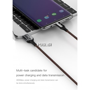 BASEUS C shaped Light Type C 1M Power-off Data Sync Charging Braided Cable 3A