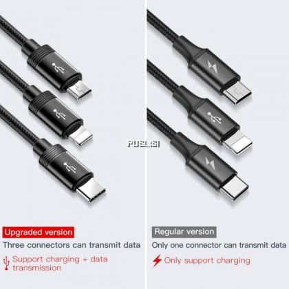 BASEUS 3 in1 Micro USB Type C Lightning Charger Data Cable 1.2M 3.5A For iphone X Samsung Note 9 HTC