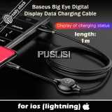 Baseus Lightning Cable Apple cable Digital Display USB 1m Cable Big Eye for iPhone 8 Plus 6 6S Plus