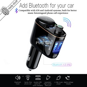 Baseus Car Charger MP3 Audio Player Bluetooth Car Kit FM Transmitter Handsfree Calling 5V 3.4A Dual USB Car Charger Mobile Phone Charger