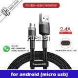 Baseus Reversible Micro USB Fast Charging Data Cable Kevlar Cable 2.4A For Samsung