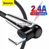 Baseus MVP Elbow Lightning Cable Data Sync Charging Cable 2.4A  LED light For iPhone X 8 7