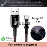 Baseus X-type Light Type C 3A Fast Charging USB C Data Cable 1m Fast Charging Cable for Huawei P20 Xiaomi Mi8