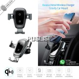 Baseus Metal Car Mount Qi Wireless Charger Car Phone Holder For For iPhone X XS 8 Samsung S9 S8