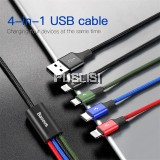 Baseus 4 in 1 Micro USB Lightning Type C Data Charging Cable 1.2M 3.5A For iPhone Samsung Huawei Xiaomi Vivo Oppo