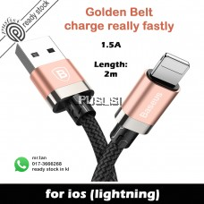 Baseus Golden Belt Lightning Cable Apple Charging Cable 1.5A 2M For iPhone X 8 7 6