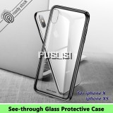 Baseus See through Glass Protective Case Iphone Cover Apple Case Soft TPU Hybrid Mobile Phone Case for iPhone X iPhone XS