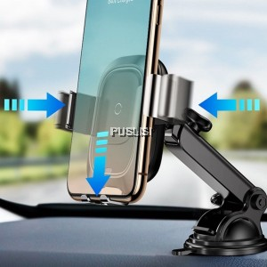 Baseus Intelligent Infrared Sensor Fast Wireless Charging Dashboard Car Phone Holder Smart 2 In1 Qi Wireless Charger Car Mount Bracket Wireless Charger Adsorption Car Mount Universal Suction Charger Auto Clamp Car Mount for iPhone XS Samsung
