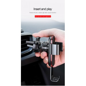 Baseus Metal Age Gravity Car Air Vent Mount Holder Metal Car Phone Holder Mobile Phone Holder Air Vent Mount Clip Cell Phone Stand Bracket for Universal Phone iPhone X 8 7 Samsung Huawei Oppo Vivo