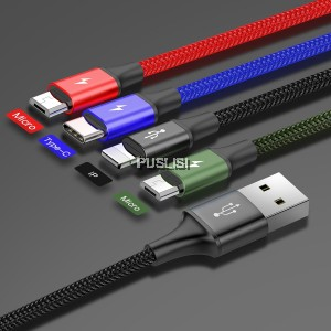 Baseus 4 in 1 Micro USB Lightning Type C Data Charging Cable 1.2M 3.5A For iPhone Samsung