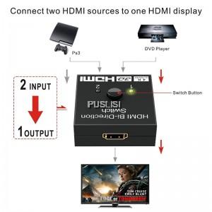 HDMI Bi Directional Switcher Switch 4K Splitter 2 Ports 2 x 1 or 1 x 2  HD Pass Through Support 1080P 4K Ultra HD