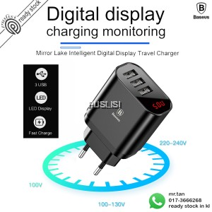Baseus Digital LED Display Fast Charging Wall Travel Charger Mirror Lake Intelligent Digital Display 3.4A Universal 3 USB Ports Travel Charger Adapter for Apple Samsung Sony