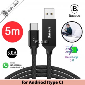 Baseus Long Cable USB For Type C QC 3.0 5m data transfer speed Quick Charge xiaomi andriod huawei fast Artistic Striped 5 meters Extra samsung