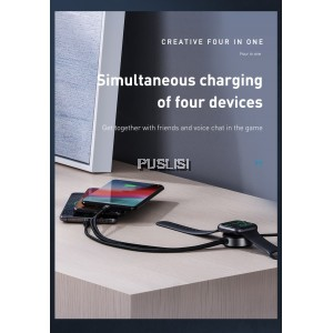 BASEUS For Apple Watch Type C Micro Lightning Wireless Charger USB Cable 4 in1 For iphone Sumsung huawei