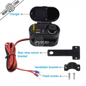 Waterproof 12V-24V Motorcycle Dual USB Charger Cigarette Lighter Handlebar Mount