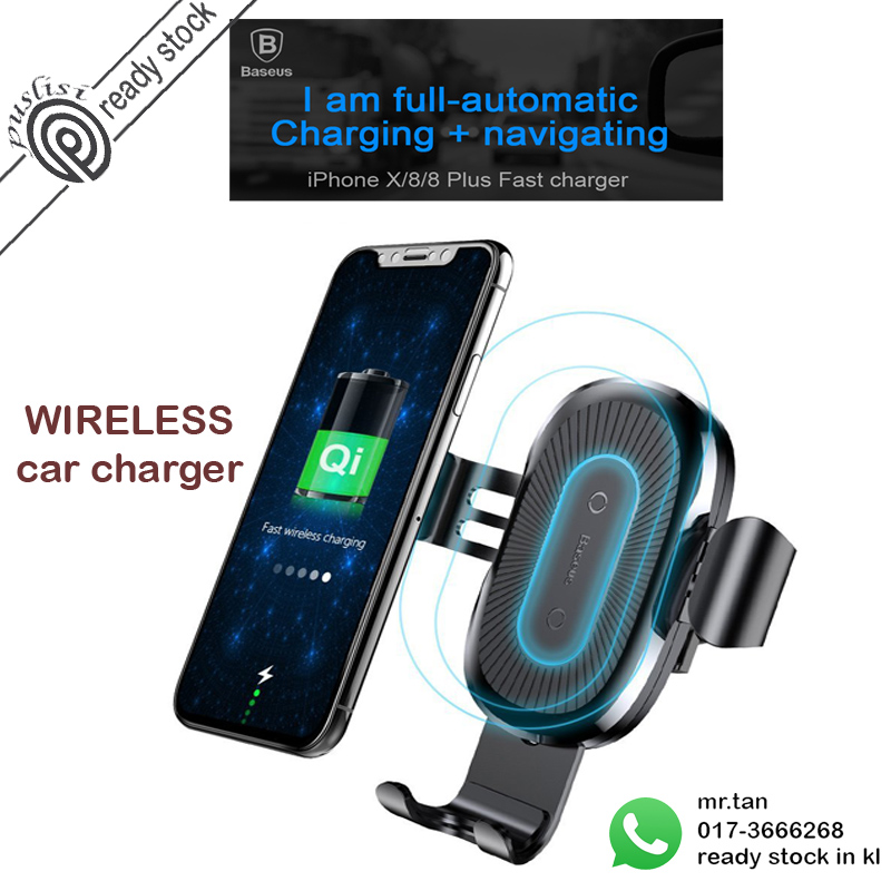 san francisco 25ad8 4cae1 Baseus 10W QI Wireless Charger Car Mount Holder For iPhone X 8 Samsung